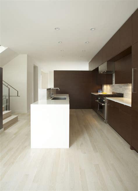 white oak wood floors Kitchen Modern with ceiling lighting