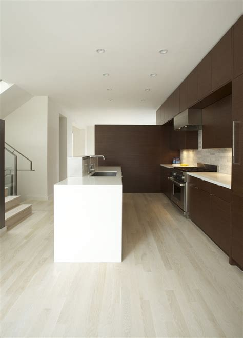 white oak wood floors Kitchen Modern with ceiling lighting