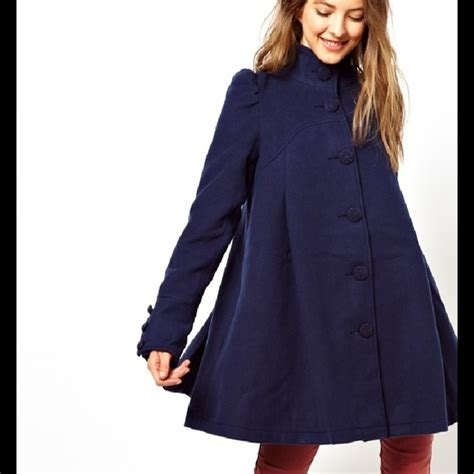 swing coat free jackets coats blue pleated swing coat