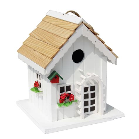decorative wood house bird feeder w red trim outdoor