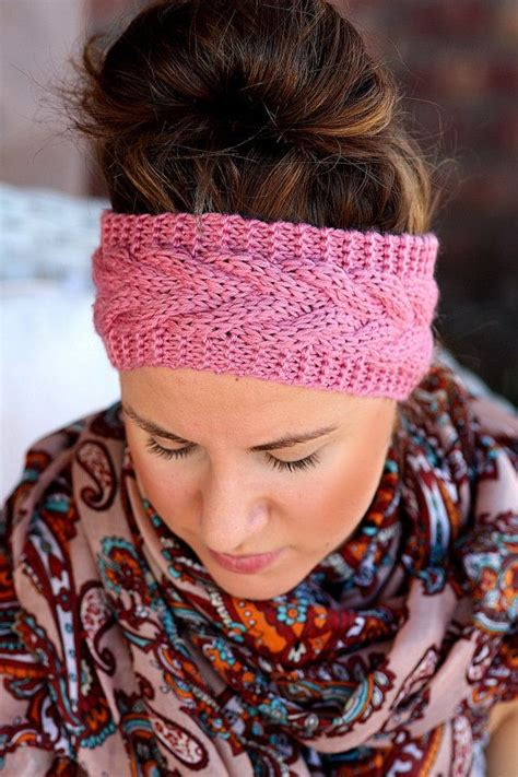 knit crochet turban headband button headbands knitted headband pink vintage cable
