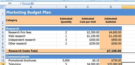 marketing plan budget template microsoft word and excel 10 business plan templates