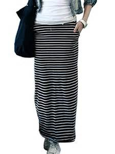 fashion elastic waist black white striped