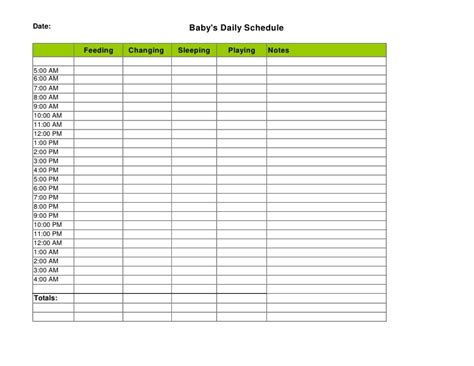 baby schedule template daily schedule calendar template 2016