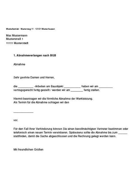 Vorlage Verzug Musterbrief Die Abnahme Dreh Und Angelpunkt Im Baurecht Sbz
