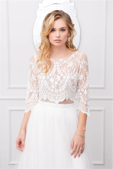 Sleeved Lace Top samara bodice and lilah skirt lace top bridal