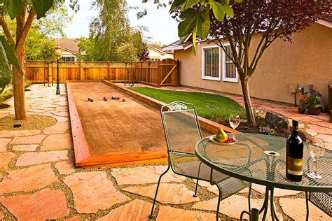 backyard bocce bocce court landscape traditional with bocce court