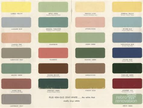 fifties colors 1954 paint colors for kitchens bathrooms and moldings