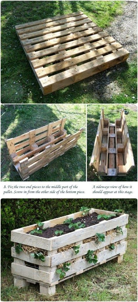 diy pallet flower bed diy home ideas this pallet turned strawberry bed