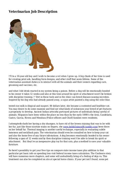 Duties Of A Vet by Veterinarian Description