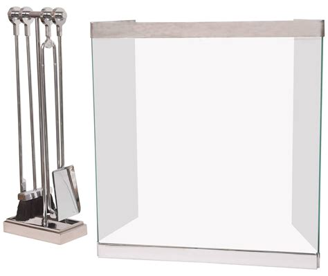 fireplace screens and tools vintage polished chrome and glass fireplace screen with matching tools at 1stdibs