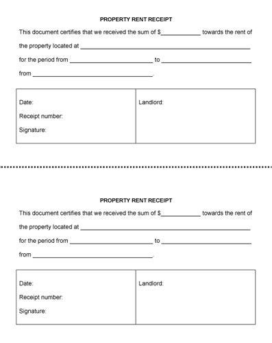 Property Management Receipt Template by Property Rent Receipt Rent Receipt Template