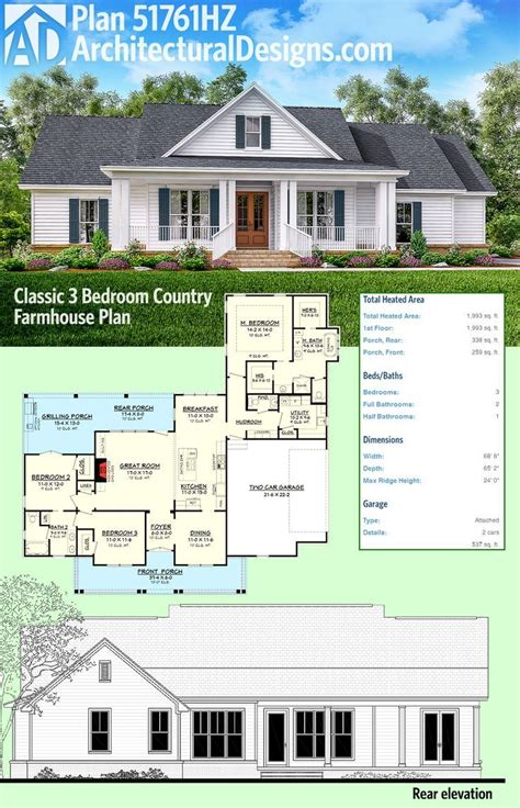 farmhouse architectural plans plan 51761hz classic 3 bed country farmhouse plan