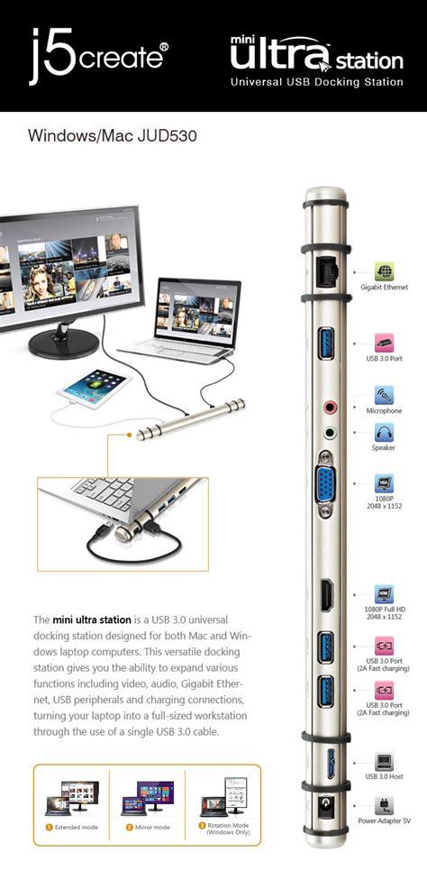 J5create Mini Ultra Station Usb 3 0 Jud530 Jud530se j5create jud530se usb 3 0 universal mini ultra