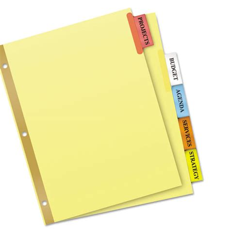 avery big tab 5 tab template insertable big tab dividers 5 tab letter webofficemart