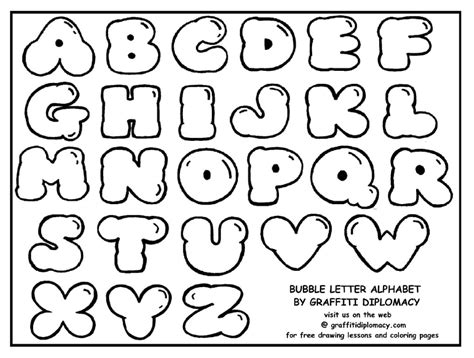 printable alphabet bubble letters bubble letter alphabet coloring pages pinterest