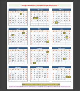 Barbados Calendrier 2018 And Tobago Stock Exchange Ttse Holiays 2015