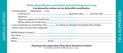 church response card template white rock montessori school annual giving caign