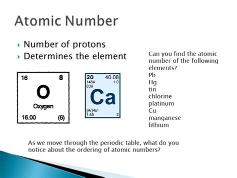 Number Of Protons In Elements by The Periodic Table And Atomic Structure Ppt