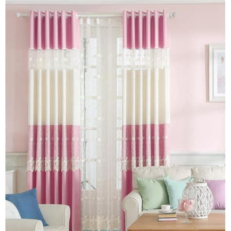 pink and beige curtains pink and beige lace embroidery polyester kids curtains