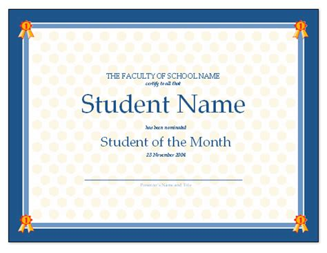 student of the month certificate template free quotes