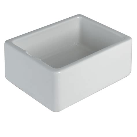 Bathroom Sinks B Q by Belfast 1 Bowl White Gloss Ceramic Sink Departments