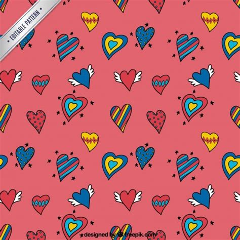 heart pattern free vector heart doodles pattern vector free download