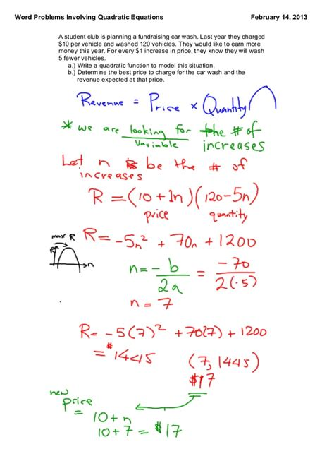 Word Problems With Quadratic Equations Worksheet by Solving Quadratic Equations Problems We Can Do Your
