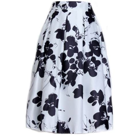 black and white pattern skirt outfit autumn winter black white floral print painted women knee