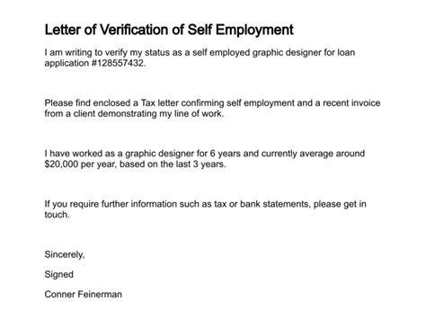 Self Employment Letter Employment Verification Letter Free Printable Documents