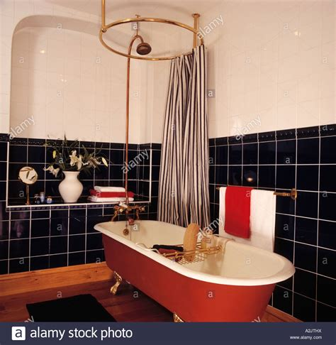 freestanding bath shower curtain striped shower curtain on circular rail above red