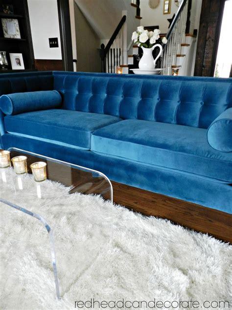 blue velvet sofa my teal blue velvet sofa