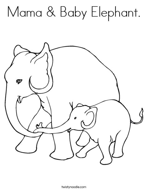 mama baby elephant coloring page twisty noodle