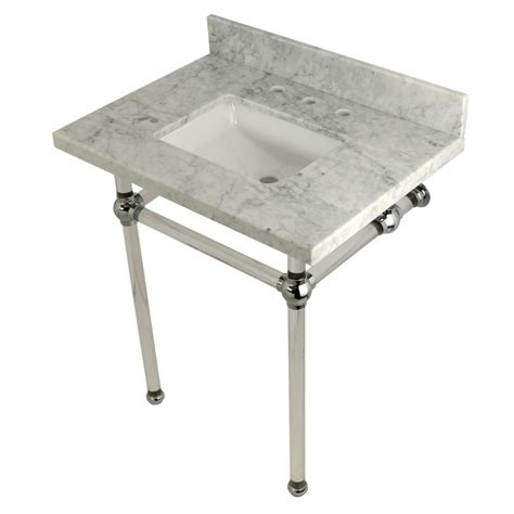 carrara marble console sink kingston brass square sink washstand 30 in console table