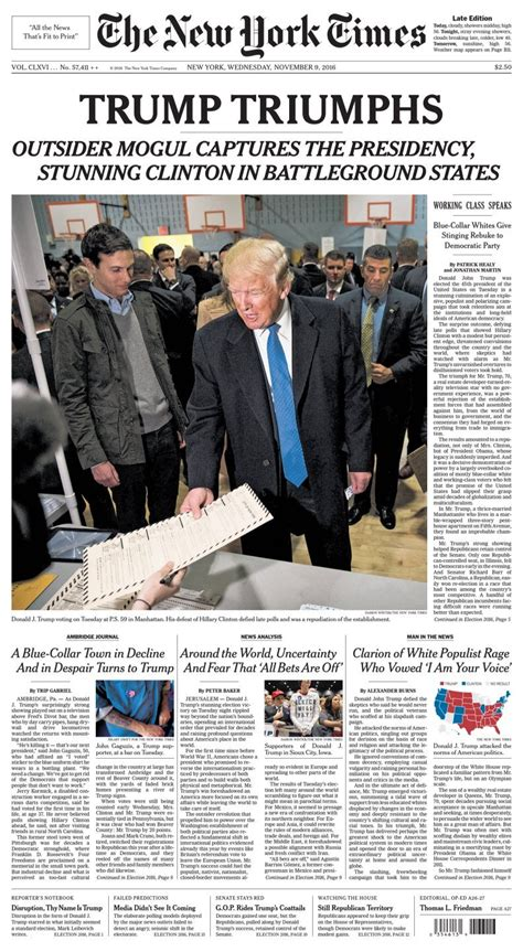new york times front page newspaper newspaper covers show shock of trump s upset victory