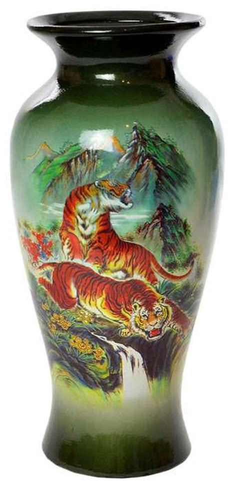 Beautiful Vases Home Decor by Beautiful 11 Home D 233 Cor Glass Vase With Tiger Print Ebay