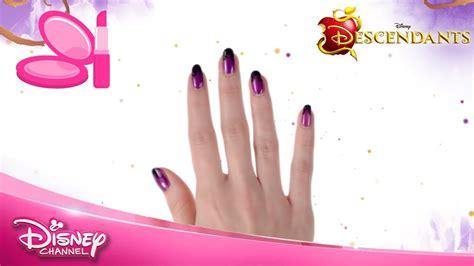 nail art tutorial disney channel disney descendants mal nail art tutorial official