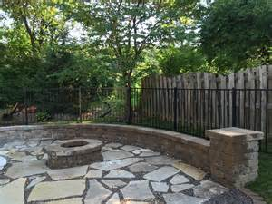 backyard makeover edwardsville fire pit and flagstone patio