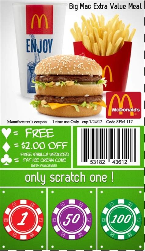 Fast Food Coupons 2018 Mcdonalds