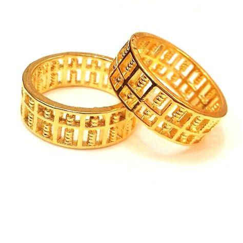 Sempoa Abacus cincin emas korea 24k gold plated ring sempoa
