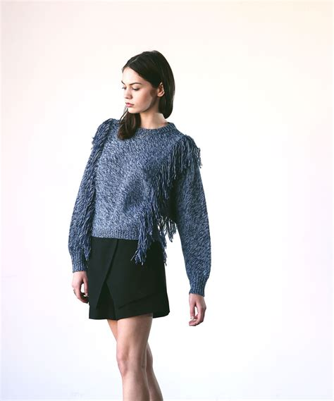pre order sweater starlab cosette agnes fringe sweater blue garmentory
