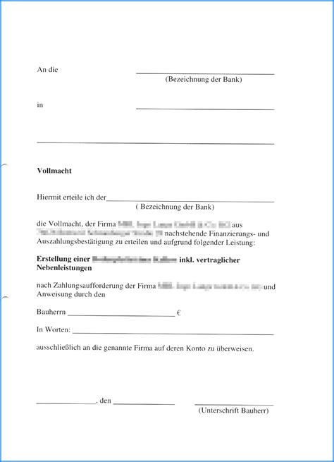 Vollmacht Schreiben Muster Bank Vollmacht Muster Invitation Templated
