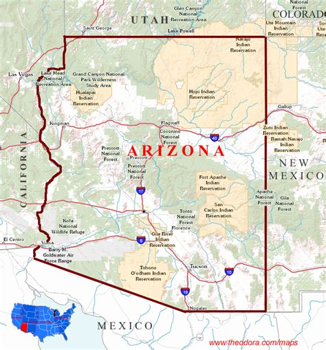 map of and arizona arizona maps