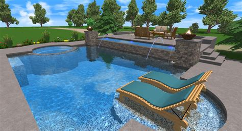 detail swimming pool designs plans in 3d view