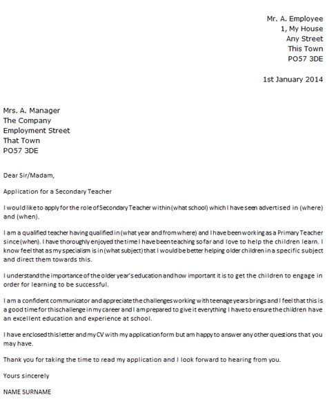 Letter Of Application: Letter Of Application Teaching