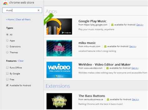 chrome web store android chrome web store links to android apps