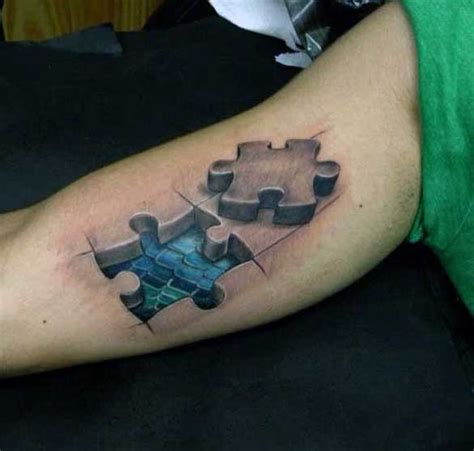 3d puzzle tattoo 3d style amazing looking biceps of puzzle pieces