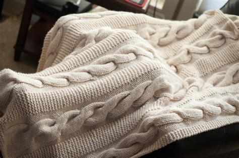 Free Knitted Blankets And Throws Patterns by Cable Knit Throw Thimbleanna