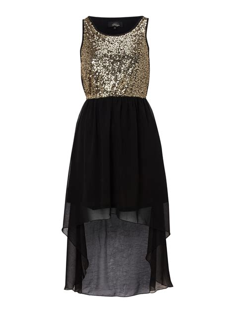 Dipped Hem Dresses by Madam Rage Sequin Dipped Hem Dress In Gold Black Lyst