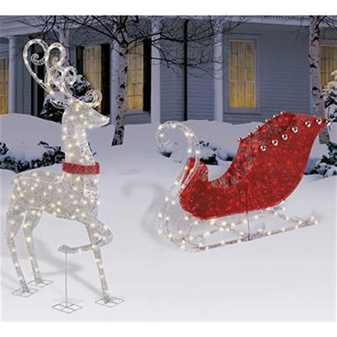 reindeer sleigh lawn decorations for christmas new outdoor 48 quot lighted sleigh 60 quot reindeer lights yard decoration ebay